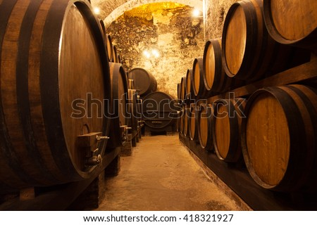 Cellar With Barrels For Storage Of Wine