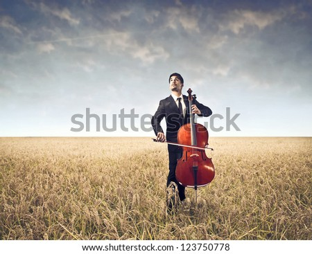 Cellist on a large field - stock photo
