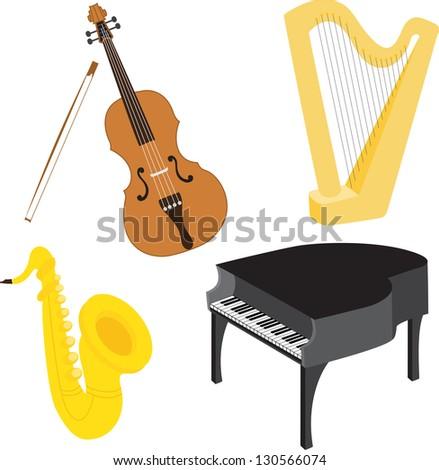 Cello, harp, sax, piano music instruments set. Raster version. - stock photo