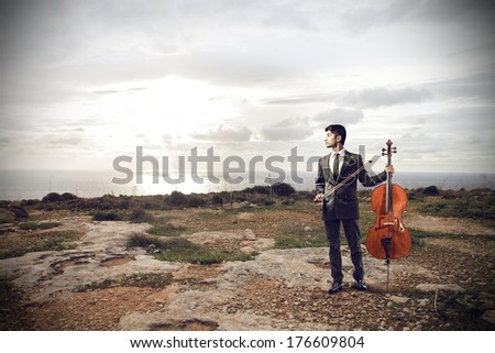 cello player - stock photo
