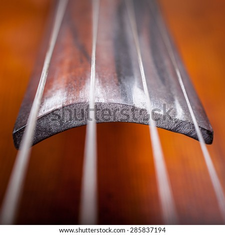 cello strings closeup - stock photo