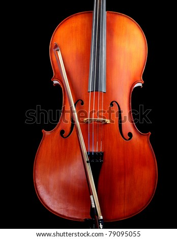 Cello with bow, isolated on black
