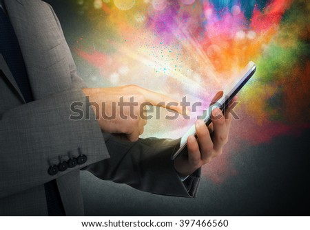 Cellphone colorful multimedia - stock photo