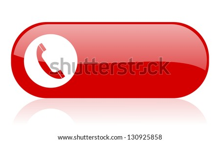 cellphone red web glossy icon - stock photo