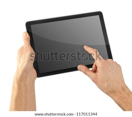 cellphone tablet in hand for advertisement - stock photo
