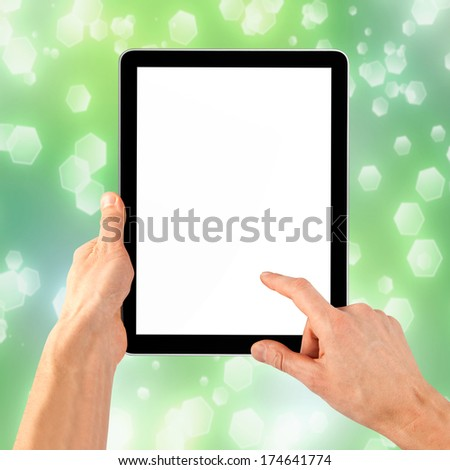 cellphone tablet in hand for advertisement. computer - stock photo