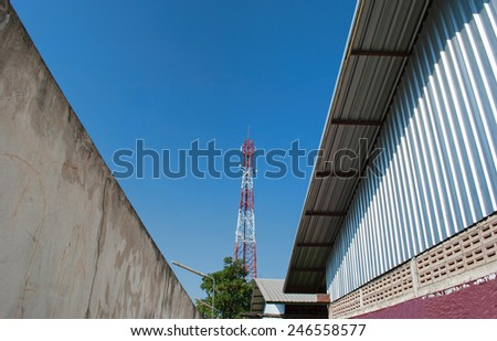 cellphone tower and the roof