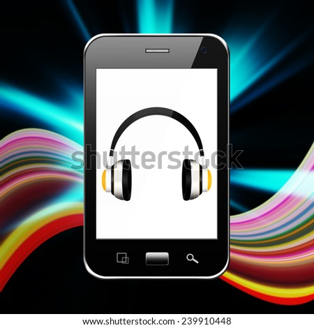 Cellphone with headphones,cell phone illustration - stock photo