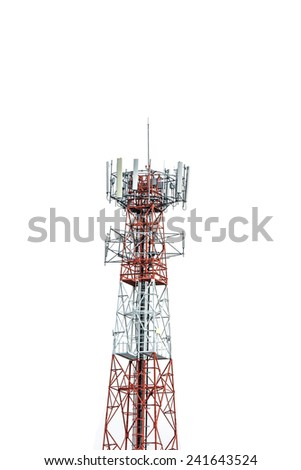 cellular antenna for mobile phone standing on White background  - stock photo