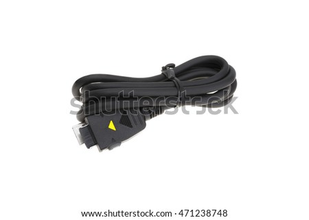 Cellular phone charge cable isolated on white background