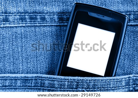 Cellular phone in jeans pocket,  put your own text on the screen