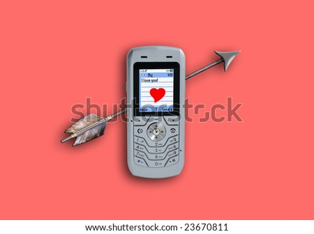 Cellular phone sending sms with heart and love - Valentine's Day - pink color version