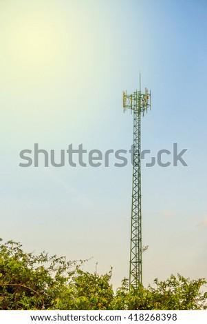 Cellular phone transmitter antenna - stock photo