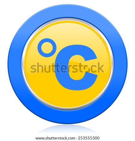 celsius blue yellow icon temperature unit sign  - stock photo