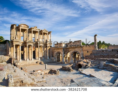 Celsus Library in a, Turkey - stock photo