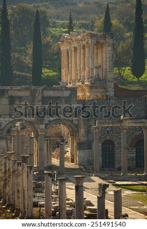 Celsus Library in Ephesus Ancient Greek City in Selcuk, near Izmir, Turkey - stock photo