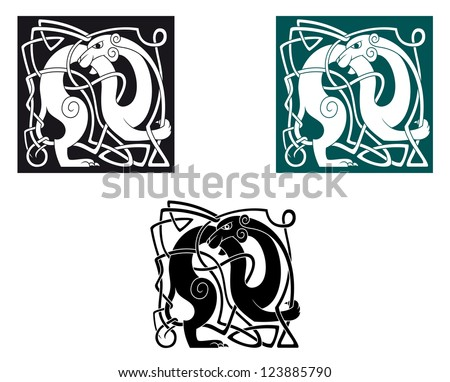 Celtic dogs with ornament and decorative elements. Vector version also available in gallery - stock photo