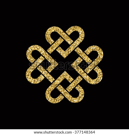 Celtic knot made from interlocking hearts. Gold glitter on black background.  - stock photo