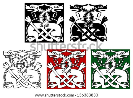 Celtic ornament elements and embellishments with wild angry dogs. Vector version also available in gallery - stock photo