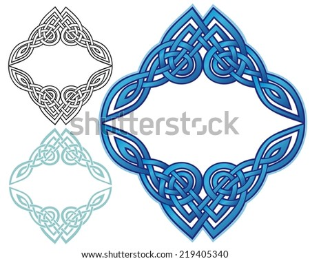 Celtic style knotwork in an unusually shaped border - stock photo