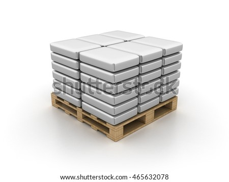 Cement Bags over Pallet on White Background  - High Quality 3D Rendering / Illustration