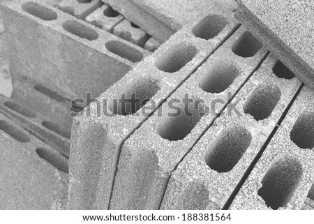 cement blocks for use in building construction - stock photo