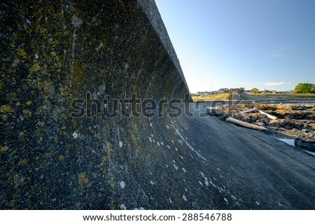 Cement breakwater Cattle point BC - stock photo