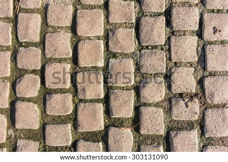 Cement brick floor damage background on evening time - stock photo