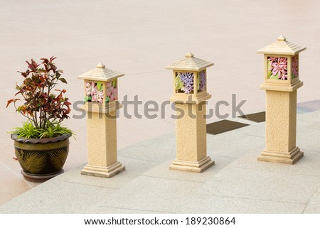 Cement building lamp. - stock photo