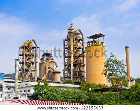 cement factory on blue sky background