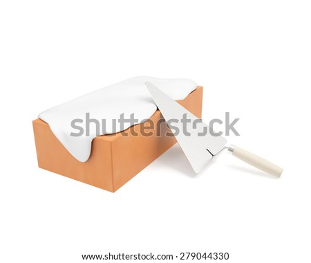 Cement flow down the brick with trowel isolated on white background. 3d illustration High resolution - stock photo