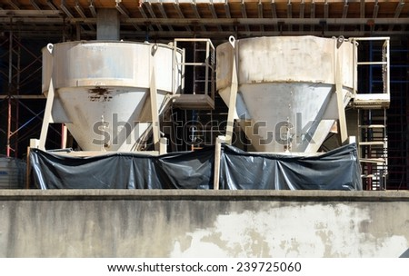 Cement Mixer buckets - stock photo