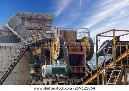 cement mixers car with beautiful sky - stock photo