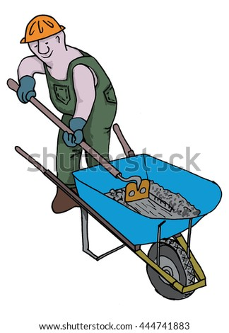 Cement mortar mixing. Comical cartoon man, Hugo mixes in a wheelbarrow. Wearing hard hat & overalls.