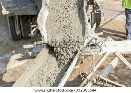 Cement or mortar is inside cement mixer. Cement or mortar is mix - stock photo