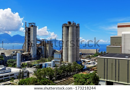 Cement Plant at day in Hongkong  - stock photo