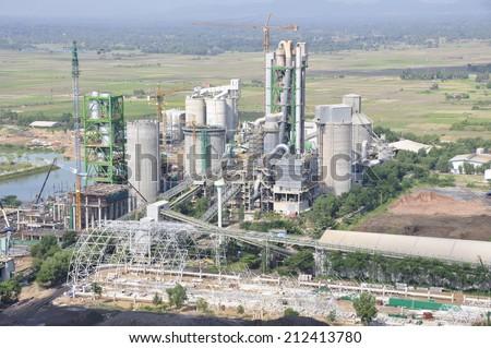 Cement plant, kiln - stock photo