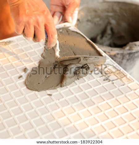 cement plaster on tile for house building  - stock photo