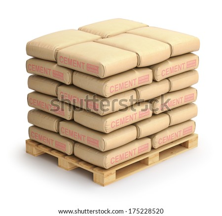 cement sacks on wooden pallet - stock photo