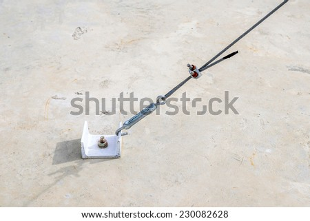 Cement strong anchor connect with slings. - stock photo