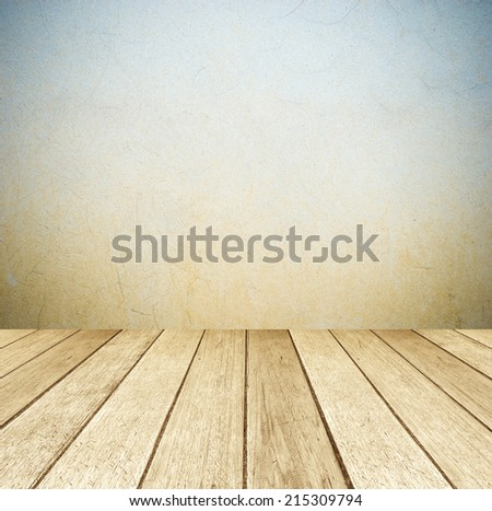 Cement wall and vintage wooden floor, perspective view, grunge background, template - stock photo