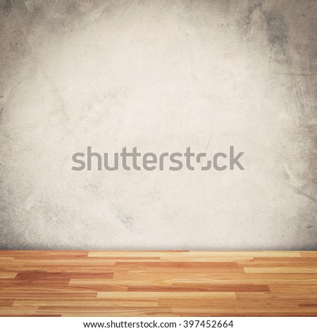Cement wall background and wood floor with space