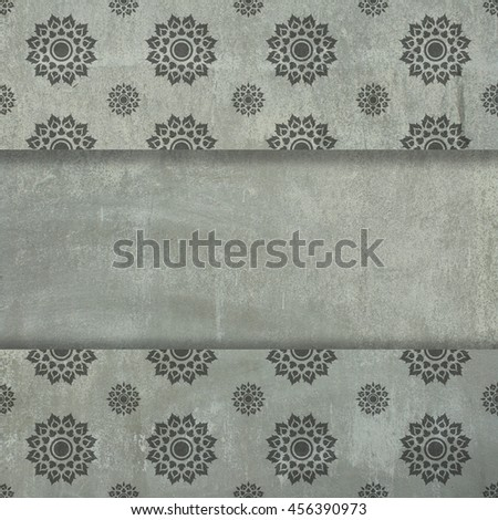 Cement wall texture with Thai art for background