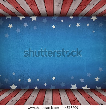 Cement wall with star background and wood floor - stock photo