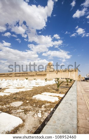 Cementery in the great Mosque of Kairouan, Tunisia, africa - stock photo