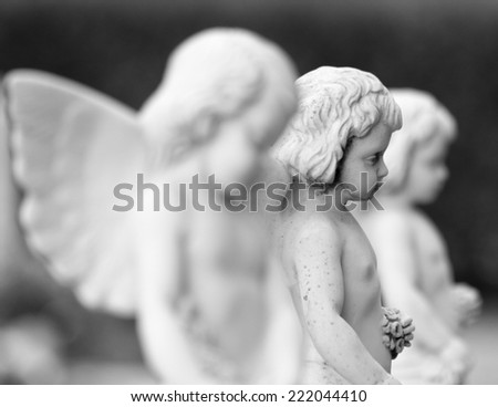 cemetery angel statues with flowers in hands, Italy - stock photo