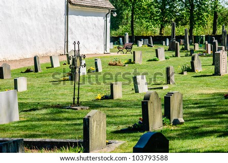 Cemetery beside old white church