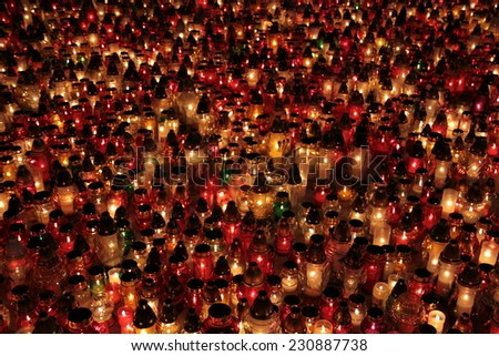 Cemetery candles - stock photo