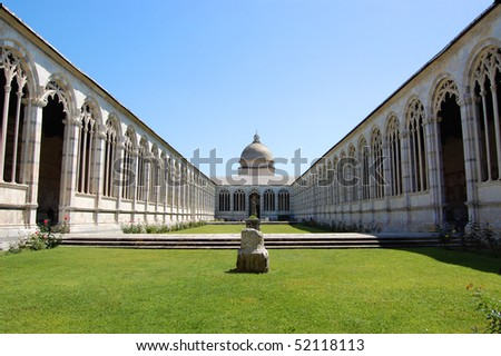 Cemetery garden in Pisa, Italy - stock photo