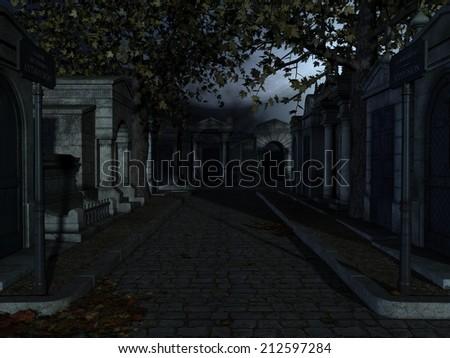 Cemetery- Halloween Background - stock photo